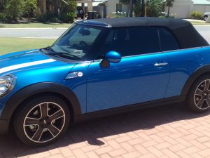 Window tinting on a sporty mini