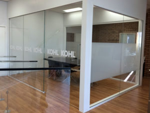 Office frosted windows and corporate signage